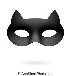 Black cat masquerade eye mask illustration