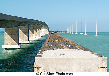 Highway bridge over Channel 2, Florida Keys, USA - Old and...
