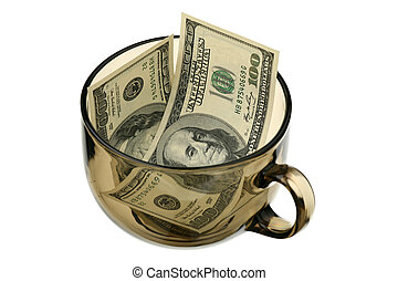 Dollars in a glass cup