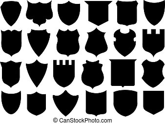Set Of Different Shields isolated on white