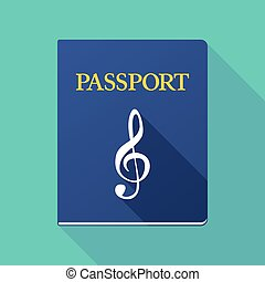 Long shadow passport with a g clef - Illustration of a long...