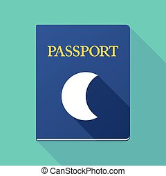 Long shadow passport with a moon