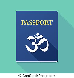 Long shadow passport with an om sign - Illustration of a...