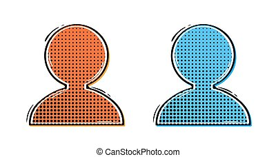 two comic avatars - abstract red and blue avatars in retro...