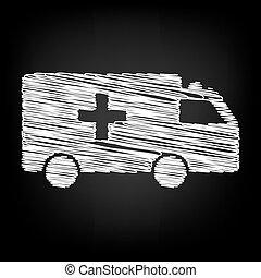 Ambulance sign. Scribble effect on black background