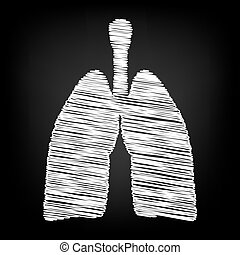 Human organs. Lungs sign. Scribble effect on black...