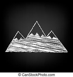 Mountain sign. Scribble effect on black background