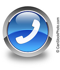Phone icon glossy blue round button 2