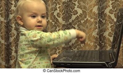 Cute Little Girl Works Personal Computer - Cute Newborn...