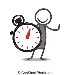 Stopwatch - Stickman with stopwatch on white background