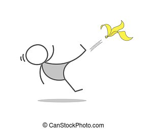 Banana slipping - Stickman Slips On Banana Peel