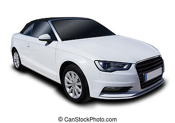 White Convertible Car - Convertible Car Isolated on White...