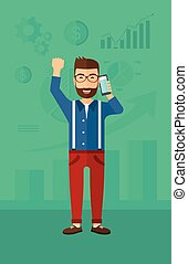 Happy successful businessman - A hipster man with raised...