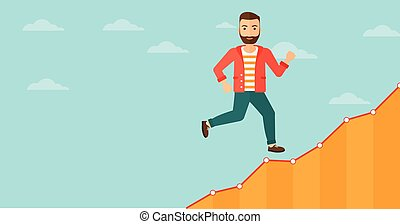 Businessman walking upstairs - Cheerful hipster man with the...