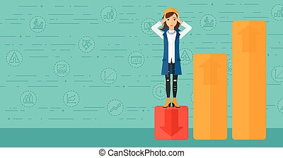 Business woman standing on low graph. - Upset woman...