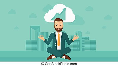 Peaceful businessman meditating. - Peaceful hipster man with...