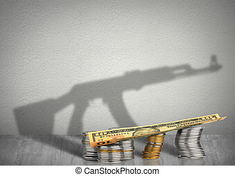 financing war concept, money with weapon shadow - financing...