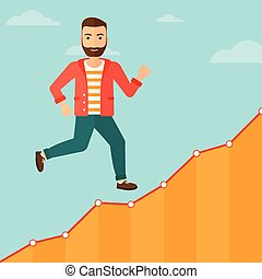 Businessman walking upstairs. - Cheerful hipster man with...