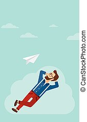 Businessman relaxing on cloud. - A hipster man with the...