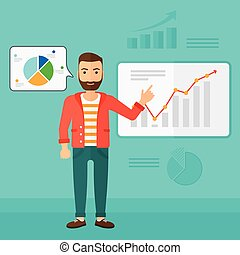 Businessman presenting report. - A hipster man with the...