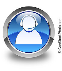 Customer care icon glossy blue round button