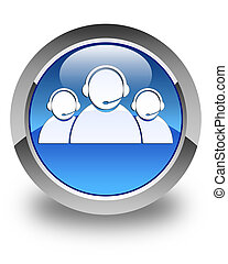 Customer care team icon glossy blue round button