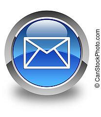 blå, knapp,  email,  4, ikon, runda, glatt