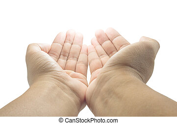 open empty pray hands isolated on the white background