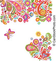 Floral background with colorful abstract flowers