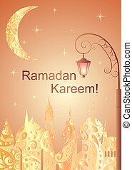 Golden greeting card for Ramadan