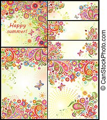 Set of colorful summery templates - Set of colorful summery...