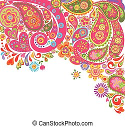 Summery colorful background with paisley