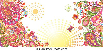 Summery horizontal banner - Summery horizontal decorative...