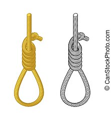 Hangman. Rope with loop. Hanging on rope. Node. Thick rope...