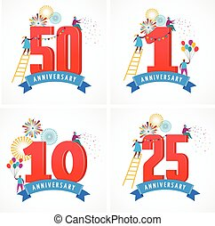 anniversary - background with people celebrating icons and...