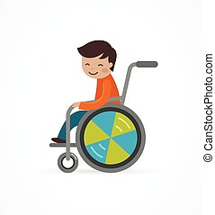 disabled child, boy in a wheelchair, vector illustration