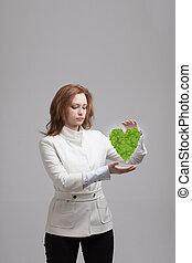 心, 植物, 女, 彼女, 緑, 保有物, 手