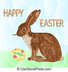 Happy Easter Bunny and Easter eggs vector.eps