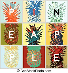 different views of pineapple - fun stylized tropical fruits,...