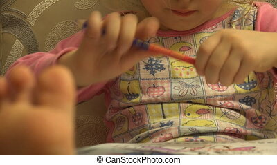Cute Beautiful Girl Prepare Pencil for Pencilling, Big Leg...