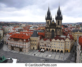 Prague old town Square from the astronomical clock