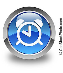 Alarm clock icon glossy blue round button 2