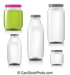 Glass bottles empty transparent set. Template of glass jars....