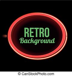 Street sign with red neon light and empty space - Oval retro...