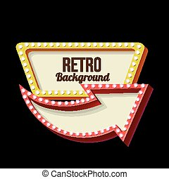Night retro sign with lights - 3d Vintage street sign. Retro...