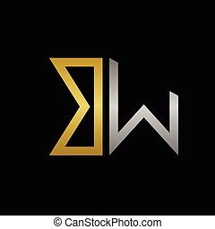 BW letters logo - Golden B and silver W letters logo...