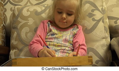 Cute Little Girl Paint Attentively, Big Leg in Frame - Cute...