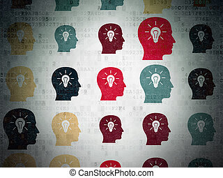 Education concept: Head With Light Bulb icons on Digital Paper background