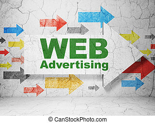 Marketing concept: arrow with WEB Advertising on grunge wall background