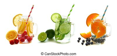Detox water with fruit in jars - Three types of healthy...